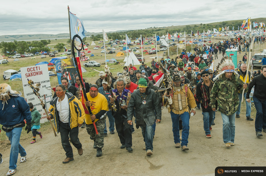 Protesters demonstrate against the Energy Transfer Partners' Dakota Access pipeline near the Standing Rock Sioux reservation in Cannon Ball, North Dakota